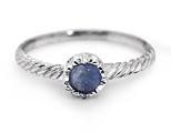 Round Lapis Lazuli Silver Twist Ring