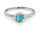 Round Larimar Stone Silver Twist Ring