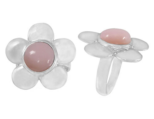 Sterling Silver Pink Opal Flower Ring