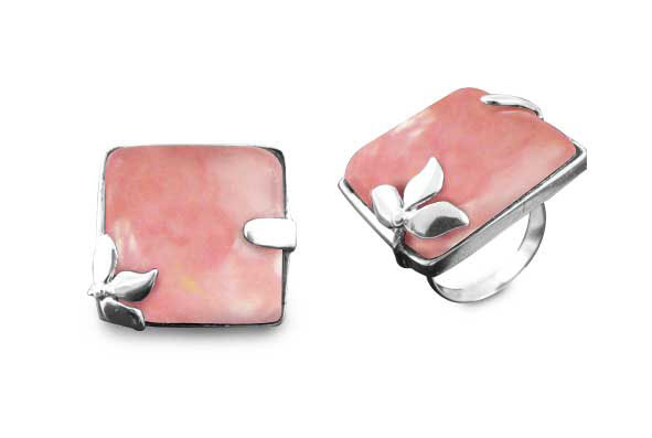 Square Peru Pink Opal Flower Ring in Silver