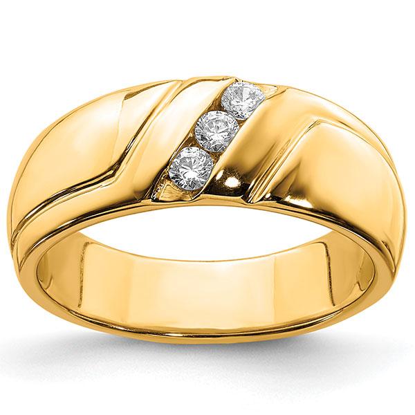 0.15 Carat Diamond Three Stone Men's Diamond Ring, 14K Gold