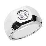0.25 Carat Diamond Men's Bezel Inset Ring, 14K White Gold