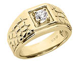 0.25 Carat Men's Nugget Diamond Ring, 14K or 18K Gold
