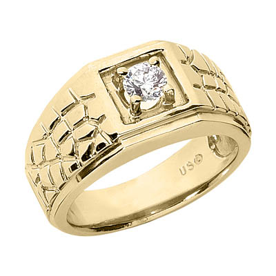 0.25 Carat Men's Nugget Diamond Ring, 14K or 18K Gold