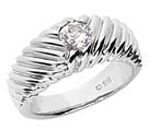0.35 Carat Diamond Ribbed Men's Ring, 14K White Gold