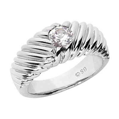 0.35 Carat Diamond Ribbed Men's Ring, 14K White Gold