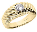 1/3 Carat Men's Ribbed Diamond Ring, 14K Gold