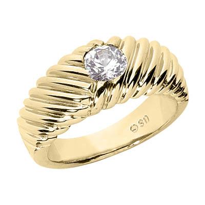 1/3 Carat Men's Ribbed Diamond Ring, 14K Gold