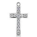 0.36 Carat Channel-Set Diamond Cross Pendant, 14K White Gold