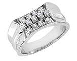 0.65 Carat Men's 3-Step Diamond Ring, 14K or 18K White Gold