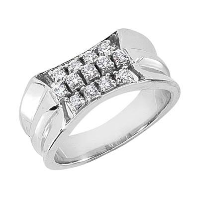 0.65 Carat Men's 3-Step Diamond Ring, 14K or 18K White Gold