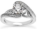 0.65 Carat Elegant Diamond Swirl Engagement Ring, 14K White Gold