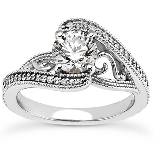 0.65 Carat Elegant Diamond Swirl Engagement Ring, 14K White Gold