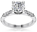 1.07 Carat Diamond Engagement Ring with Cluster of Side Diamonds