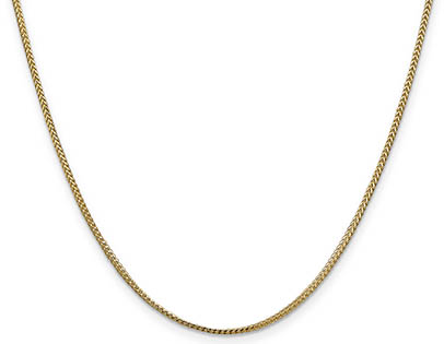 1.1mm 14K Solid Gold Franco Chain Necklace