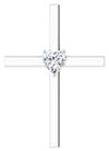 1/2 Carat Heart-Shaped Diamond Cross Necklace in 14K White Gold