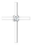 0.25 Carat Diamond Cross Necklace, 14K White Gold