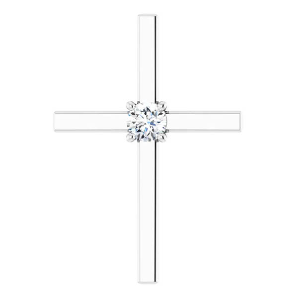 0.25 Carat Diamond Cross Necklace, 14K White Gold