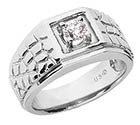 1/4 Carat Men's Diamond Nugget Ring, 14K White Gold