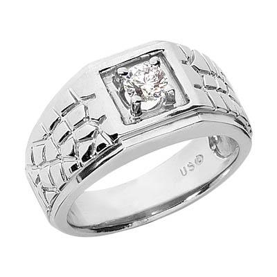 1/4 Carat Men's Diamond Nugget Ring, 14K White Gold