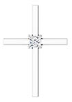 1/4 Carat Princess-Cut Diamond Cross Necklace, 14K White Gold