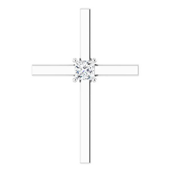 1/4 Carat Princess-Cut Diamond Cross Necklace in 14k White Gold