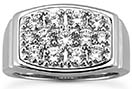 1.92 carat Men's Diamond Cluster Ring in 14K White Gold
