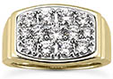 1.92 Carat Men's Multi-Stone Diamond Ring, 14K or 18K Gold