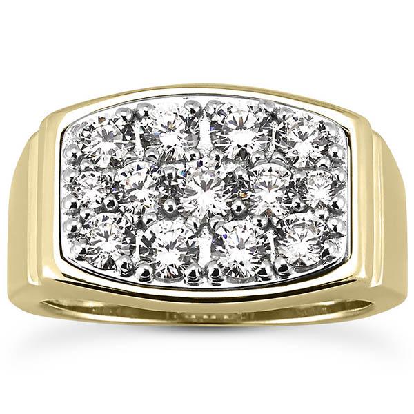 1.92 Carat Men's Multi-Stone Diamond Ring, 14K or 18K Gold