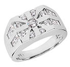 1.96 Carat Men's 17-Stone Round and Princess-Cut Diamond Ring in 14K White Gold