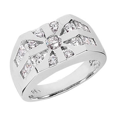 1.96 Carat Men's 17-Stone Round and Princess-Cut Diamond Ring in 14K White Gold