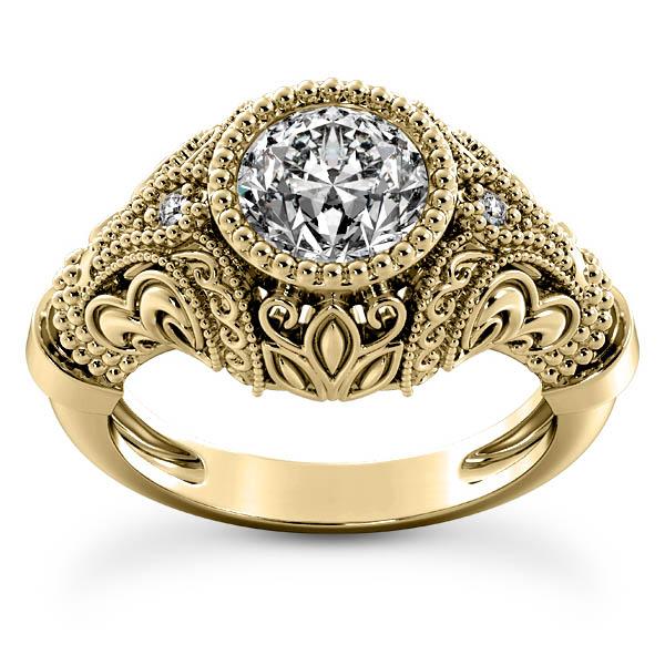 1 Carat Center Victorian-Style Diamond Engagement Ring