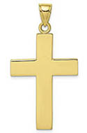 10K Gold Men's Plain Cross Pendant