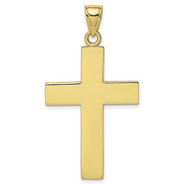 10K Gold Men's Plain Cross Pendant