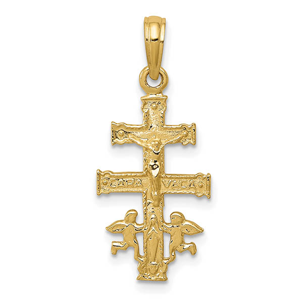 14k Gold Small Caravaca Crucifix Pendant with Mary