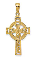 14K Gold Celtic Design Crucifix Pendant for Men and Women