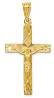 14K Gold Diamond-Cut Design Men's Crucifix Pendant
