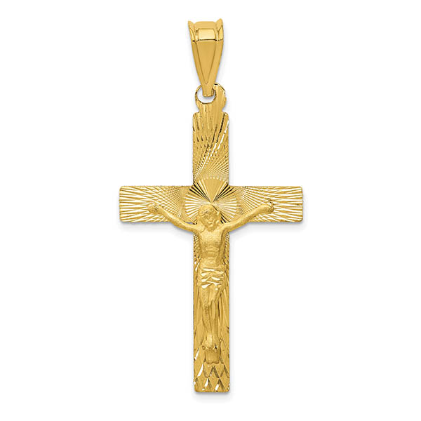 14K Gold Diamond-Cut Design Men's Crucifix Pendant