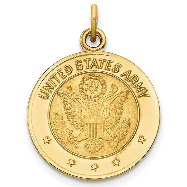 14K Gold United States Army Medal Pendant Necklace