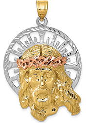 14K Tri-Color Gold Large Jesus Head with Crown of Thorns Pendant