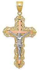 14K Tri-Colored Gold Diamond-Cut Swirl Crucifix Pendant