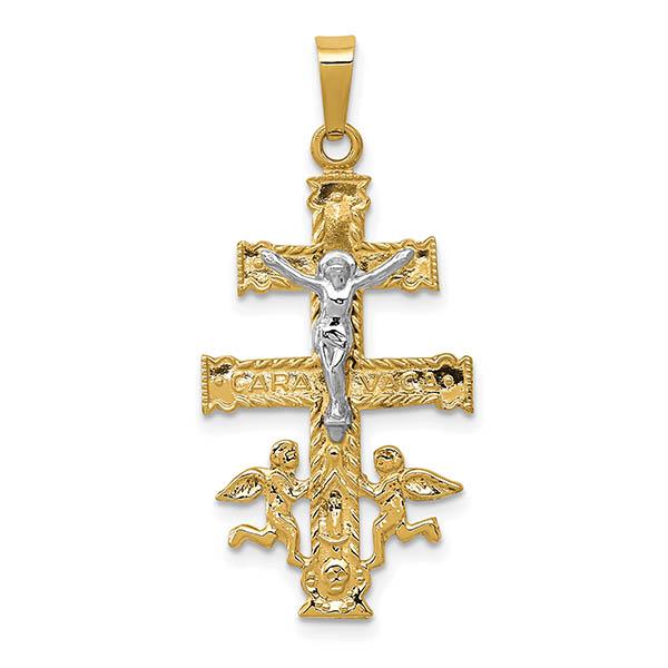 14K Two-Tone Caravaca De La Cruz Crucifix Pendant