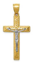 14K Two-Tone Gold Diamond-Cut Nugget Crucifix Pendant for Men