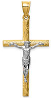 14K Two-Tone Textured Passion Crucifix Pendant