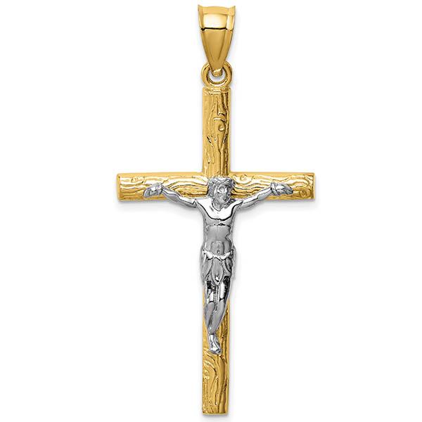 14K Two-Tone Textured Passion Crucifix Pendant