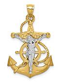 14K Two-Tone Polished/Satin Mariner's Anchor Crucifix Pendant