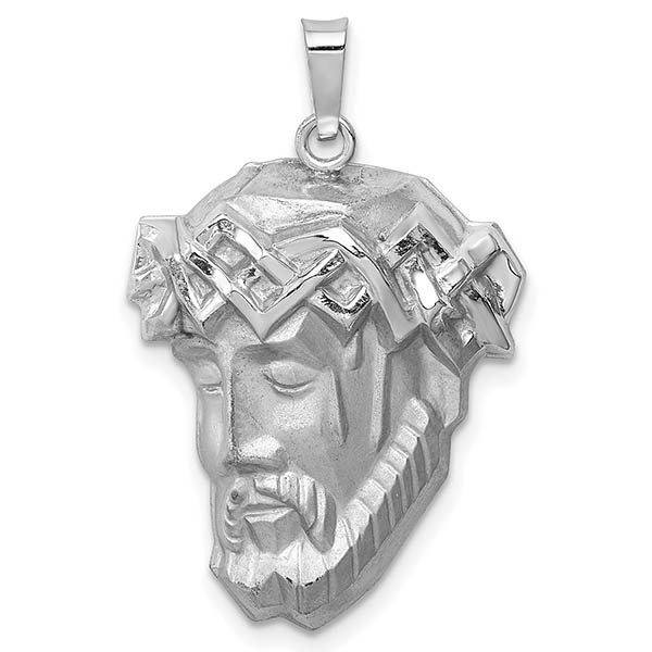 14K White Gold Jesus Head Pendant with Crown of Thorns