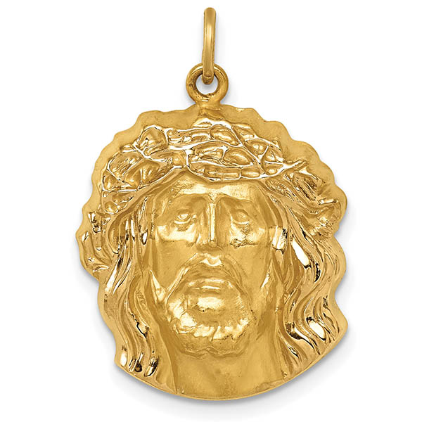 14K Yellow Gold Medium Jesus Head Pendant