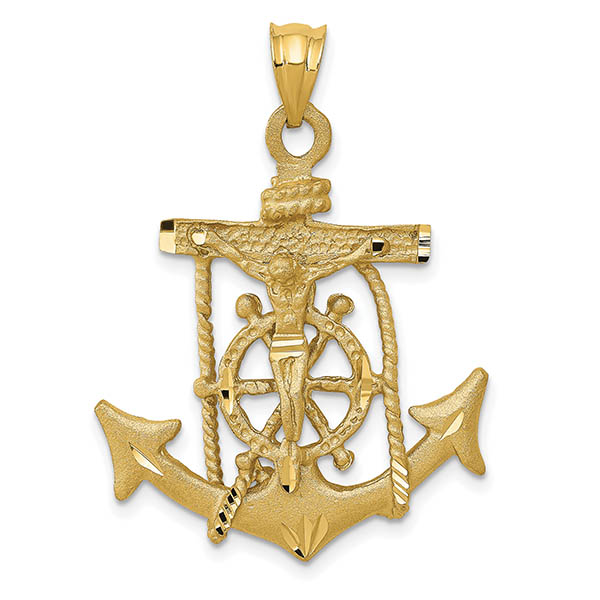 14K Yellow Gold Textured Mariner's Anchor Crucifix Pendant