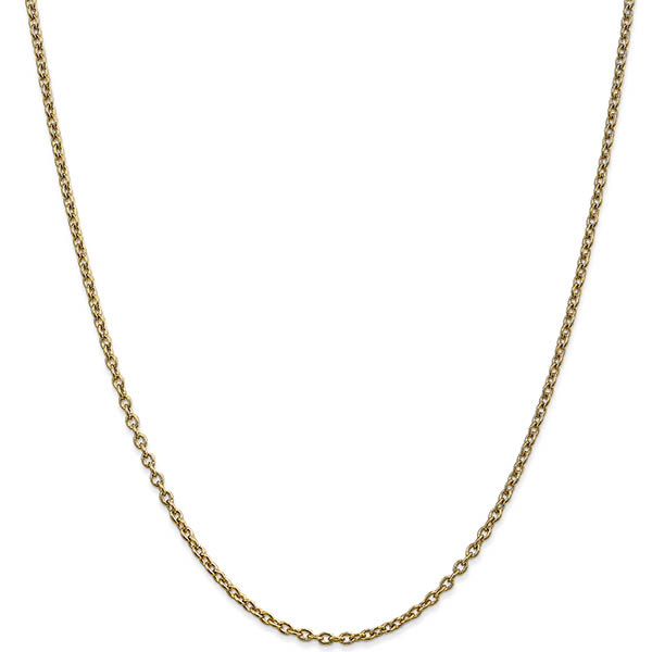 14K Gold 2.4mm Cable Chain Necklace